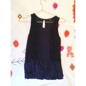 American Eagle Navy Blue Black Lace Peplum